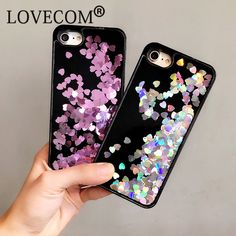 Luxury Love Heart Stars Dynamic Liquid Quicksand Soft TPU Black Frame Phone Back Cover Case For iPhone 6 6S 7 Plus Capa Coque