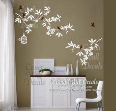 tree wall decals flower vinyl wall decals wall mural birds by cuma