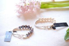 Elise Oval Bracelet- Color Grey or White by Sno of Sweden. Available online at Razmataz Market