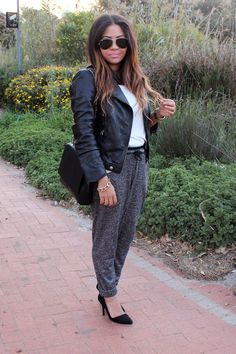 sweatpants ootd, how to wear sweatpants with heels, fashion blogger cape town, biker leather jacket, long ombre curls, lucky loves blog