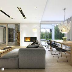 PARTEROWY 2 - nowoczesny dom z płaskim dachem - Średni salon z jadalnią z tarasem / balkonem, styl nowoczesny - zdjęcie od…