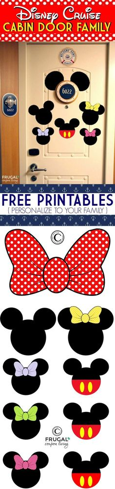 FREE Disney Cruise Door Printables - Personalize to your family, print now from Frugal Coupon Living.