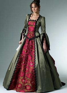 Cheap party dresses, Buy Quality western dresses directly from China dresses western Suppliers: Custom Made Century McCall's Western Bustle Ball Gown / French Renaissance Gown/party Dress/Costume Dress Victorian Era Fashion, Victorian Gown, Victorian Costume, Vintage Fashion, Victorian Pattern, Edwardian Style, Victorian Steampunk, Renaissance Gown, Medieval Dress