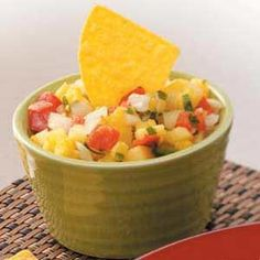Pineapple Salsa - We tried this last weekend.  It's gone already.  We did need to add another jalapeno and it was still light on heat.