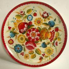 Norwegian-Rosemaling-Decorative-Plate-Os-8-1-4-Gold-Rim-NEW