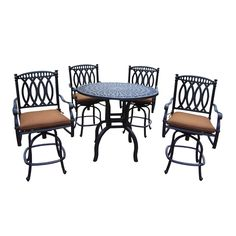 Milan Aluminum 5 Piece Bar Set with 42-inch Round Bar Table and 4 Sunbrella cushioned Swivel Stools, Black, Size 5-Piece Sets, Patio Furniture