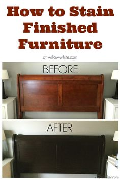 Use gel stain (General Finishes) to stain over something that was already finished, without stripping any of the old finish away. Also check out this tutorial-- http://www.monicawantsit.com/2012/02/staining-oak-cabinets-espresso-color.html--