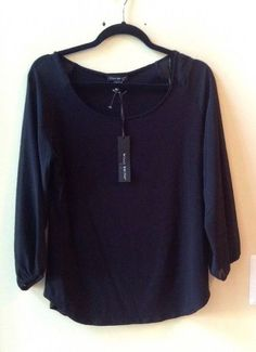 NWT WILLI SMITH WOMEN'S SOLID BLACK RAYON/SPANDEX LONG SLEEVE BLOUSE SZ S #WILLISMITH #Blouse