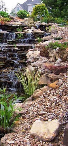 Pinspiration – 90 Stylish Backyard & Garden Waterfalls Steep hills on a property are usually looked at as a problem. Not for this homeowner. The natural terraced waterfall and plantings create a true backyard oasis. Backyard Water Feature, Ponds Backyard, Backyard Waterfalls, Terraced Backyard, Outdoor Water Features, Water Features In The Garden, Garden Waterfall, Waterfall Design, Pond Fountains