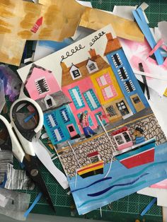Seaside Town by Tracey English Cut Paper Collage Paper Collage Art, Paper Art, Paper Crafts, Typography Images, Typography Sketch, Art For Kids, Crafts For Kids, Collage Illustration, Pin On