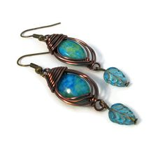 Turquoise Earrings Wire Wrapped Jewelry Spider by adiencrafts, $13.00