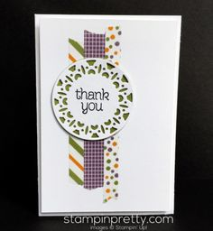 Washi tape thank you card with Merry Tags Framelits Dies.  Mary Fish, Stampin' Up! Demonstrator.  1000+ StampinUp & SUO card ideas.  Read more http://stampinpretty.com/2016/11/wonderful-washi-tape-thank-you-card.html