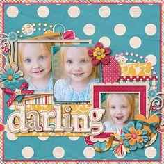 "Cute ""Darling"" Polka Dot Girl's Scrapbooking Page...NikkiARNGwife - Scrapbook.com."
