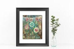 Spring Banner, mixed media print, flower garden, Spring decor, Easter  Decor, shabby chic, birthday gift, gift for gardener, gift for her