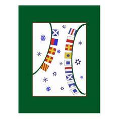 Nautical Flag Merry Christmas Postcard - christmas cards merry xmas family party holidays cyo diy greeting card