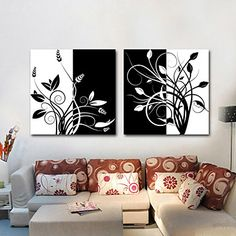 Stretched Canvas Art Black and White Floral Branches Set of 2 – USD $ 49.99