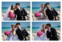 A photo montage with the bride and groom in silly glasses.  A fun way to showcase a fun couple.