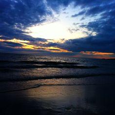Sunset over Whistling sands beach.