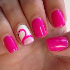 cool Pink Flamingo nail art design...