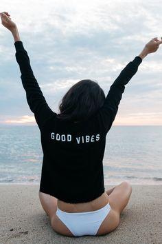 Good Vibes Crop Sweatshirt by Spiritual Gangster