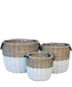 Superb Dipped Woven Basket With Rope Handles   Handwoven Basket With Rope Handles    White Dipped Design Ideas