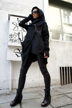 Asymmetryc Extravagant Black Hoodded Coat / Qilted Cotton  A07015 by Aakasha on Etsy https://www.etsy.com/listing/152372126/asymmetryc-extravagant-black-hoodded