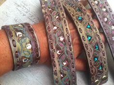 Rainbow Crystal Leather Cuff Bracelet Boho accessories