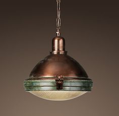 prismatic glass copper pendant light at Restoration Hardware, a nice selection of other lighting. Rustic Pendant Lighting, Copper Pendant Lights, Copper Lighting, Industrial Lamps, Pendant Lamps, Bronze Pendant, Island Lighting, Industrial Design, Luminaire Vintage