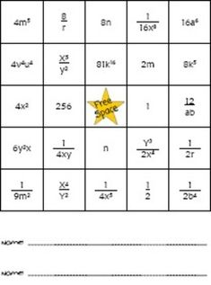 UPDATED! I have added a Flash SWF file to the bingo game. The ladybugs now disappear after being clicked and there are answers in the SWF file. You will want to open the SWF file with your internet browser.Bingo game for playing laws of exponents. Students will have to work lots and lots of problems to win the bingo game!This file is a ZIP file.