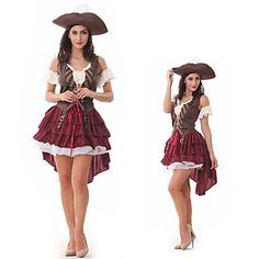 Cosplay Kostumer / Party-kostyme Pirat Halloween Kostumer Rød Lapper Kjole / Hatt Halloween Kvinnelig Polyester 1805349 2016 – kr.324