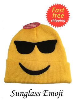 e0480dfe1b5 Adult Sunglass Emoji Beanie Hat New with tags Cool Emoji FREE SHIPPING   Walmart  Beanie