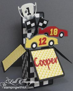 Cooper's Birthday by Loll Thompson - Cards and Paper Crafts at Splitcoaststampers Card In A Box, Pop Up Box Cards, Card Boxes, 1st Birthday Cards, Birthday Box, Surprise Birthday, Boy Cards, Kids Cards, Car Card