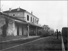 Old railway station of Larissa city, Larissa Prefecture, Thessaly, Greece Old Photos, Vintage Photos, What A Country, Back In The Day, Black And White, City, Photography, Painting, Train Stations