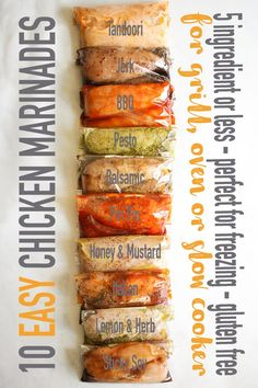 CHICKEN MARINADE - These 10 easy to prepare Chicken Marinade recipes are perfect for spicing up a boring chicken dinner! Pop them into the freezer, use them for the grill (or on the barbecue if your in the UK), oven bake them or slow cook (crock pot) them Chicken Marinade Recipes, Healthy Chicken Recipes, Homemade Marinades For Chicken, Chicken Breast Marinades, Overnight Chicken Marinade, Simple Chicken Marinade, Chicken Thigh Marinade, Salmon Marinade, Greek Chicken Recipes