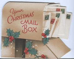 Vintage Christmas Card: Mailbox with Letters & Holly - 4 Pages Christmas Mail, Christmas Things, Christmas Delivery, Vintage Christmas Cards, Christmas Pictures, Xmas Cards, Christmas Greetings, Vintage Cards, Christmas Time