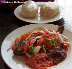 I could use some right now!! Classic Ghanaian dish of banku, tomatoes, peppers, onions, fried fish and pepper sauce