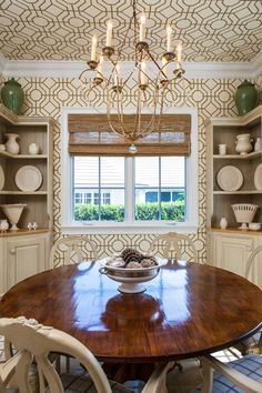 Vacation Home Johns Island FL Dining | Sandra Morgan | fabulous dining room and love the wallpaper run up on the ceiling as well