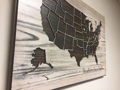 Wooden US Map, Wood wall art, Home Wall Decor, United States Map with States, can be Personalized, Wooden, Modern, Rustic, Birthday gift by HowdyOwl on Etsy