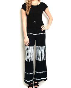 Fold+Over+Wide+Leg+Tie+Dye+Panel+Palazzo+Yoga+Pant