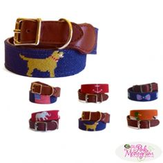 USA, Anchor, Bowtie Or Golden Retriever Needlepoint Dog Collars At The Pink Monogram