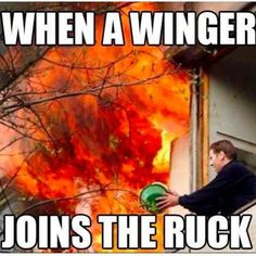 When a winger joins the ruck