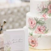 Hand painted wedding cake, inspired by invitation - Seattle Wedding Cake and Dessert Bars - The Sweet Side  -  Alante Photography