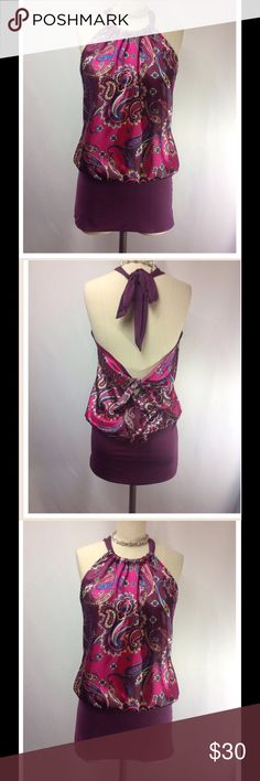 """Satin Paisley Choker Style Halter Top This sexy choker style halter top ties around the neck and back. Also could be worn as a micro mini if you dare. You could wear this for cocktail parties, Christmas or New Years. Approx measurements M - armpit to armpit 18"""" Length- 28"""". Large- 21"""" Length 30"""". 100% polyester. Pronto Tops Blouses"""