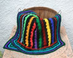 Colorful Rainbow Striped Crocheted Afghan