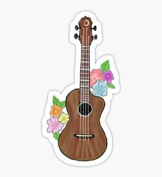 Ukulele With Flowers Sticker