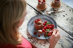 Naked Chocolate Mousse with Hazelnut Dust - Sarah Graham Food Chocolate Pots, Chocolate Recipes, Graham Recipe, Sarah Graham, Recipe Fo, Low Carb Recipes, Healthy Recipes, Pudding Recipes, Food For Thought