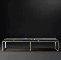 RH's Nicholas Marble Large Rectangular Coffee Table:Pairing marble's luminous warmth with metal's cool luster, this table designed by the Van Thiels is a study in complementary contrasts. Inspired by a 1960s French original, it is a striking surface for display.