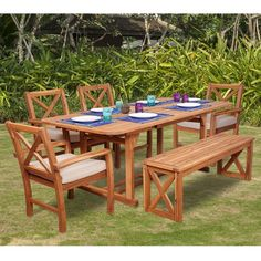 Outdoor Walker Edison X-Back Acacia Wood 6 Piece Patio Dining Set with Cushions - Outdoor Dining Set, Outdoor Tables, Patio Dining, Outdoor Decor, Patio Bar Set, Patio Furniture Sets, Furniture Styles, Garden Furniture, Cushions