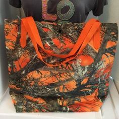 Orange Camo tote bag lined with inside by CreationsByLaurieAnn