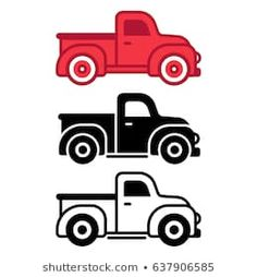 Similar Images, Stock Photos & Vectors of Two cartoon vintage pick-up truck outline drawings, one red and one black and white, in side view, vector illustration - 413727652 Vintage Red Truck, Vintage Pickup Trucks, Outline Drawings, Car Drawings, Farm Trucks, Old Trucks, Cartoon Car Drawing, Cars Cartoon, Truck Tattoo